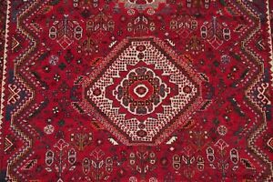Antique Geometric Tribal Red Abadeh Oriental Area Rug Wool Hand-Knotted 6'x9'