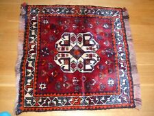 RED 100 % WOOL HAND MADE SMALL RUG 58X60 CM. NEW - WAS £ 150