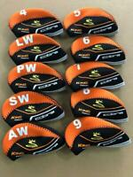 10PCS Protective Club Covers for Cobra King Forged Iron Headcovers Orange&Black