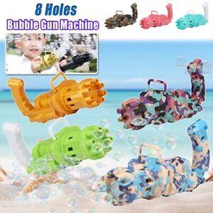 Kids Toys Automatic Gatling Bubble Gun Summer Soap Water Bubble Machine