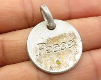 "925 Sterling Silver - Vintage Round ""Peace"" Drop Pendant - P4180"