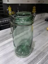 1 Bocal Bocaux Verre Vert Solidex 1L Vintage 1920-50 Green Glass Canning Jar