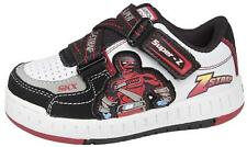Skechers Skate Shoes Boys Leather Trainers Kids Sneakers Lace Up Strap Black/Red