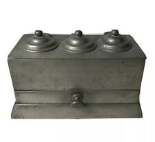 Antique Pewter Inkwell 3 Compartments & A Drawer