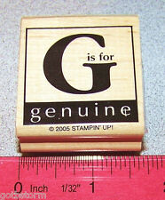 Stampin Up Around the Block Stamp Single  G is for genuine     Great Tag Size