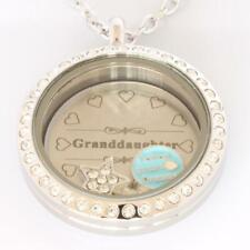 Floating Locket Granddaughter SET Crystal Stainless Steel SILVER 30mm