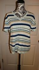 WOMENS CHEROKEE SWEATER BLOUSE TOP SIZE X LARGE XL MULTI COLORS SHORT SLEEVES