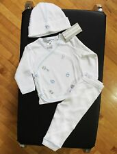 NWT Baby Steps Layette Baby Boy Size Newborn Embroidered Rattle Blue 3PC Set