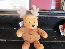 Disney Store exclusive Winnie the Pooh in reindeer costume plush with tag