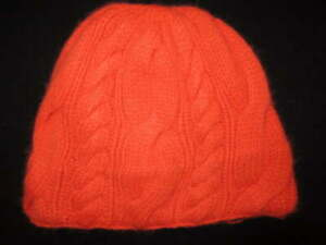 Polo Ralph Lauren 100% Cashmere Orange Cable Knit Hat Fleece inner cuff Knit Hat