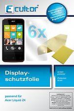 6x Acer Liquid Z4 Schutzfolie klar Displayschutzfolie Folie Ecultor Displayfolie