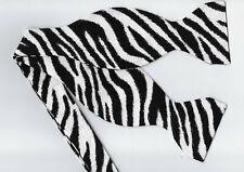 Zebra Print Bow tie / Black & White Zebra Stripes / Exotic Self-tie Bow tie