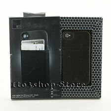HEX Solo Wallet Leather Hard Case Cover w/ID Card Slots for iPhone 4/4s Black