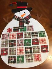 Advent Snowman Calendar Large Hanging Snowman Plaid Scarf And Pockets New