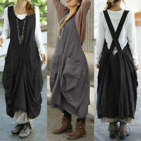 ZANZEA Women Sleeveless V Neck Straps Loose Dresses Ladies Baggy Dungaree Dress