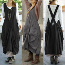 ZANZEA Women Ladies Sleeveless Dungaree Dress Casual Loose Cross Back Pinafore