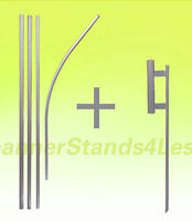 3 PACK - Feather Flutter Swooper Flag 15' POLE + SPIKE Ground Stake Mount KIT