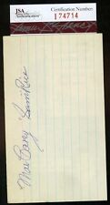 MAX CAREY AND SAM RICE JSA CERTED SIGNED 3X5 INDEX CARD AUTHENTIC AUTOGRAPH