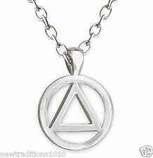 AA Circle Triangle Shiny Silver Finish Necklace/Pendant