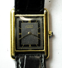 Must de Cartier Vermeil Tank Watch Grey Dial Quartz 24mm 925 Not Running 81006