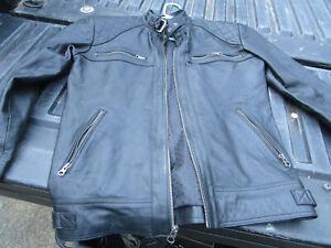 BLACK LEATHER JACKET  MOTORCYCLE/PUNK ROCK  SIZE MEDIUM