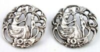 Antique Victorian William Comyns Silver Plated Buttons Pair St Cecelia's Harp