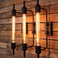 Retro Rural Metal Long Wall Lamp Industrial Cage Sconce Wall Fixtures Lighting