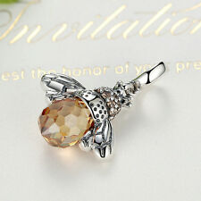 Queen Bee S925 Silver Honey Charm Bead Pendant Fits European Bracelet Necklace