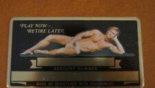 Vtg Nude Blonde Male Man Metal Social Security Card Aluminum Plate