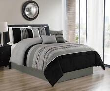7 Pieces King Size Luxury Embroidery Bed in Bag Microfiber Comforter Set Black