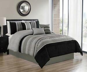 7 Pieces Queen Size Luxury Embroidery Bed in Bag Microfiber Comforter Set Black