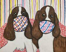 English Springer Spaniel Masks Aceo Print Dog Art Card 2.5X3.5 Ksams Collectible