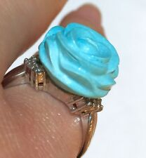 Solid PLATINUM Natural Carved Sky Blue Turquoise Rose Diamond Flower Ring