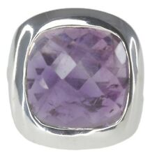 Amethyst Gemstone Checkerboard Wrap Design Sterling Silver Ring size P