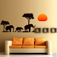 DIY Africa Elephant Sunset Wall Sticker Art Decal Mural For Home Room Decor