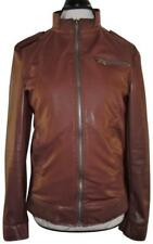 FZL Light Brown Faux Leather Zip-Up Bomber Style Jacket MEDIUM