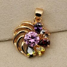 18K YellowGold Filled - Windwill Ruby Topaz Zircon Flower Party Amethyst Pendant