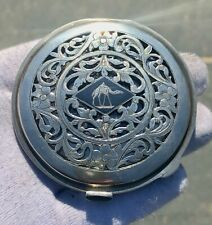 More details for superb antique heavy silver & niello signed quality egyptian compact 120g