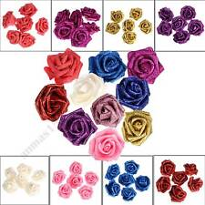 10-100PC Foam Roses Heads Glitter Powder Flowers Artificial Flower Wedding Decor