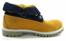 Timberland Boots 6 Inch Roll Top Wheat/Navy Blue Shoes Size 10