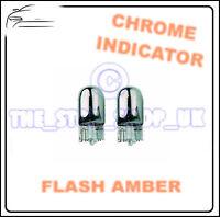 2x Chrome Indicator Bulbs T10 W5W 501 Side Repeater Flash Amber