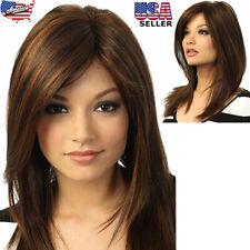 100% Real Hair Golden Brown Long Straight Partial Bangs Human Hair Wig USA STOCK