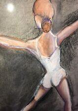 Vintage Retro Mid Century Modern Original Ballerina Pastel Listed Artist
