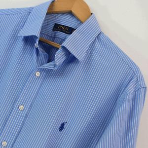 Mens Genuine Polo Ralph Lauren Blue White Long Sleeve Shirt Size XL Extra Large