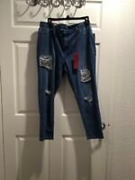 JLO Embellished Ripped Cropped Super Skinny Jeans SIZE 16, Super Stretch