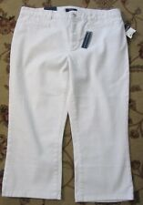 CHAPS SLIMMING FIT WHITE CAPRIS JEANS SIZE 14 NWT