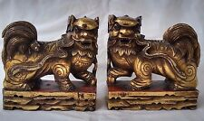 Pr. Fine Chinese Gold Gilt Hand Carved Wood Food Dog Statue Early 20th c.