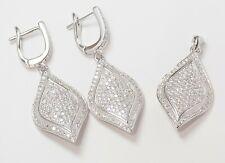 925 Sterling Silver & Rhodium Plating Elegant Wedding Cz Earrings + Pendant Set
