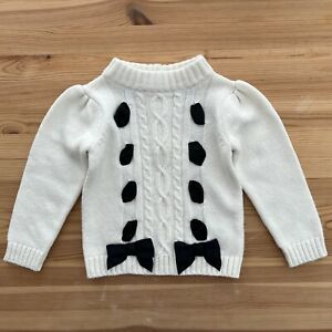 NWOT JANIE AND JACK Black & White Bow Ribbon Sweater Size 18-24 Months