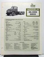 1980 Mack Truck Model RD 400S Specification Sheet